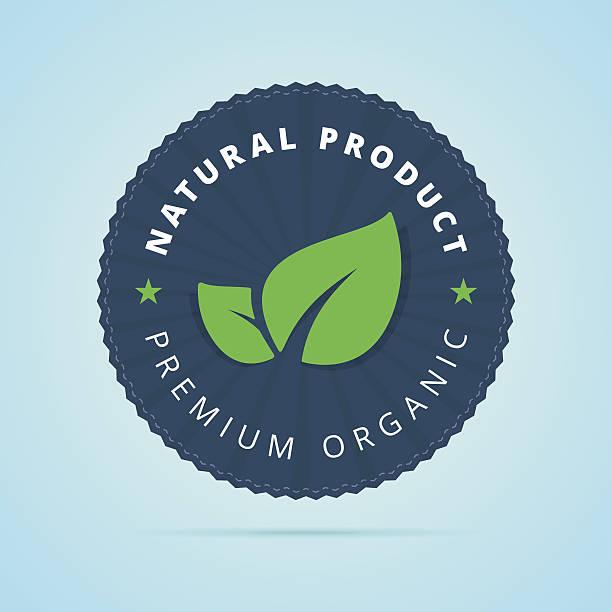 natural product, premium organic badge. - bio lebensmittel stock-grafiken, -clipart, -cartoons und -symbole