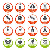 Natural Products. Allergens. Food Intolerance. Set of icons - Dairy Free, Gluten Free, Sugar Free, GMO Free, Nut Free, Paraben free. Vector illustration.