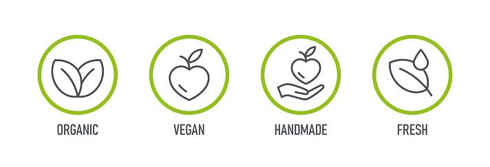 Natural Products. Set of Food icons - Organic, Bio, Vegan, Handmade, Fresh. Vector illustration.