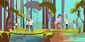Natural reserve excursion flat vector illustration. Parents with little children cartoon characters. Tropical forest, jungle tour. Exotic flora and fauna observation. Summer vacation, holiday tourism
