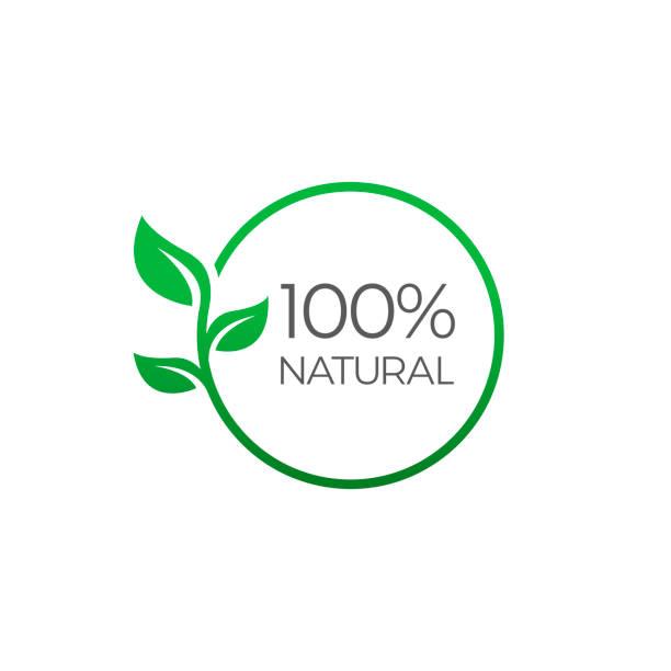 100% 천연, 라운드 라벨 녹색 스탬프. 자연 제품 기호, 벡터 일러스트 레이 션에 고립 된 흰색 배경 - 유기농 stock illustrations