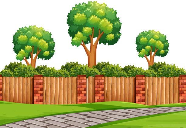 natürliche szene mit pflaster - steinpfade stock-grafiken, -clipart, -cartoons und -symbole