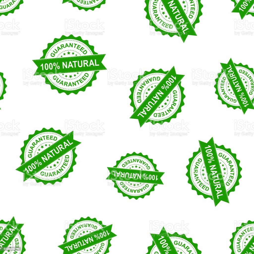 100% natural seal stamp seamless pattern background. Business concept vector illustration. Guaranteed natural badge symbol pattern. vector art illustration