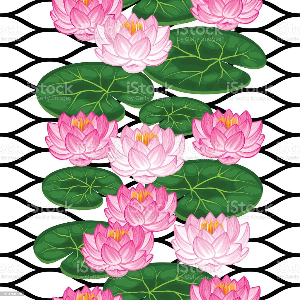 Natural Seamless Pattern With Lotus Flowers And Leaves Background