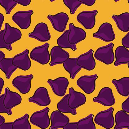 Natural seamless pattern with random purple fig ornament. Orange background. Vegeterian fruit artwork. Designed for fabric design, textile print, wrapping, cover. Vector illustration.
