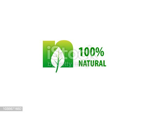 100% natural sign with leaf