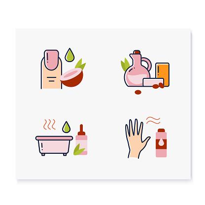 DIY natural skincare color icons set
