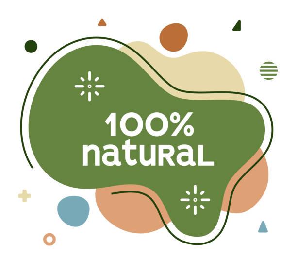 illustrazioni stock, clip art, cartoni animati e icone di tendenza di 100% natural social media advertisement banner - organic food