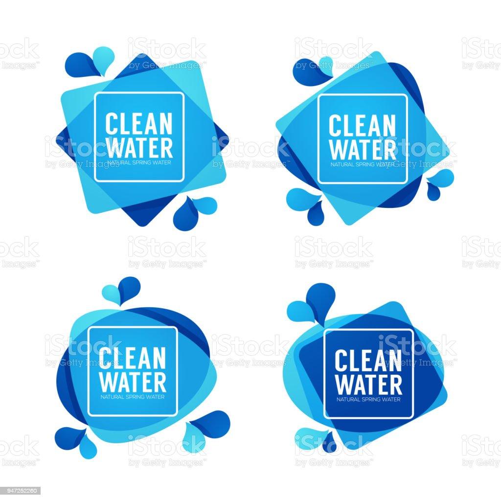 Ilustración de Plantillas De Agua Vectores Etiquetas Y Pegatinas De ...