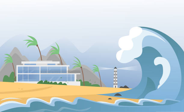 Natural strong disaster with fog and tsunami waves from ocean with house, mountains, palms and lighthouse. Earthquake tsunami wave hits the sand beach vector illustration. Natural strong disaster with fog and tsunami waves from ocean with house, mountains, palms and lighthouse. Earthquake tsunami wave hits the sand beach vector illustration tsunami stock illustrations