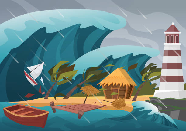 natural strong disaster with rain and tsunami waves from ocean with wooden dock, house, palms and lighthouse. - tidal wave stock illustrations, clip art, cartoons, & icons