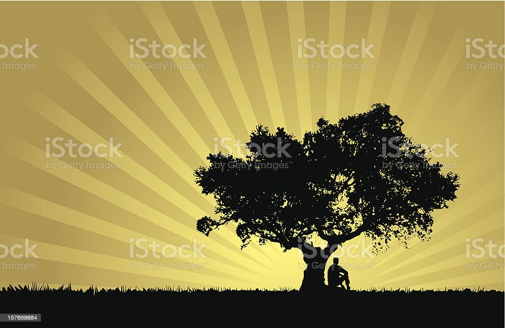 Natural sunset landscape with man silhouette vector art illustration