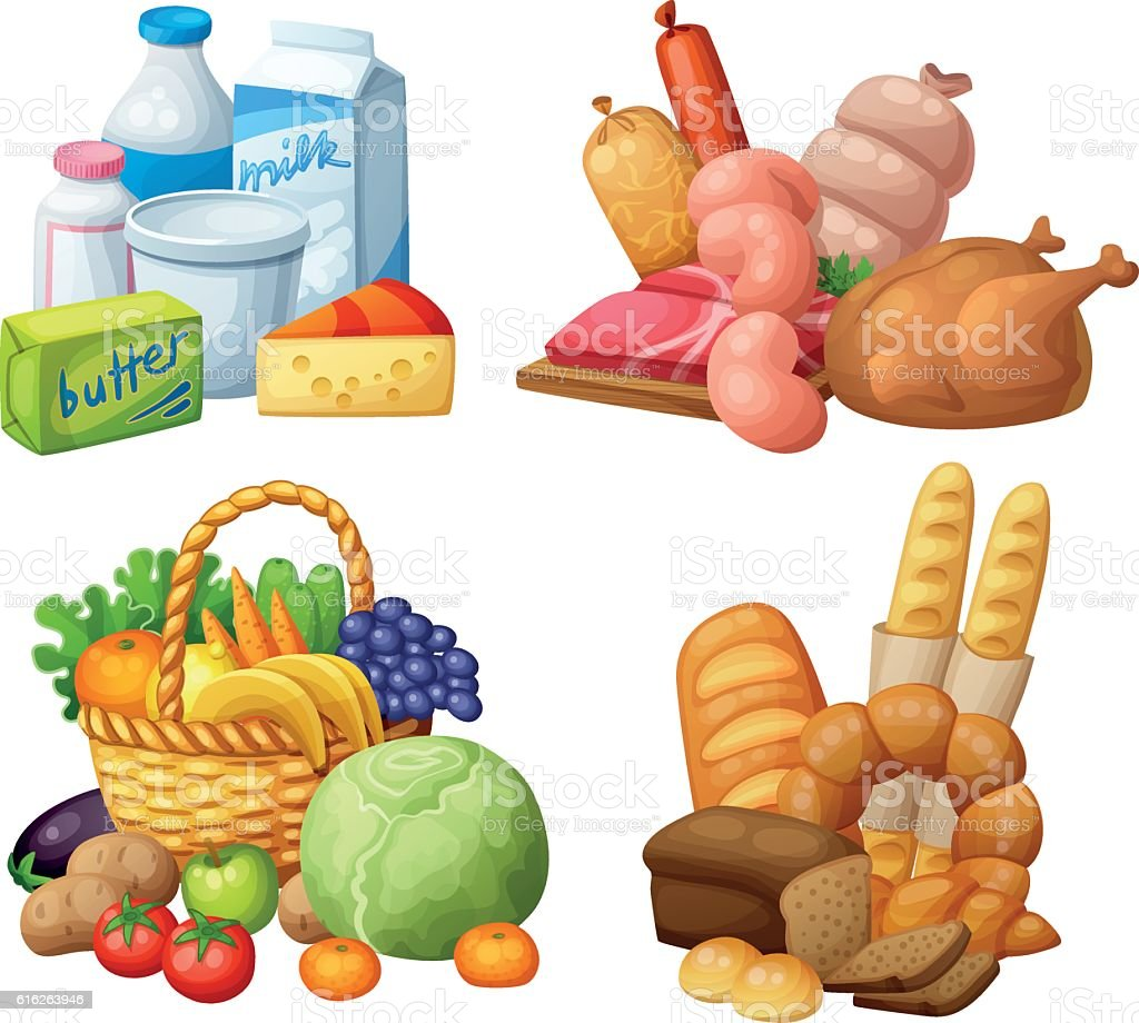 Natural supermarket food sets: Dairy products, Meat sausages chicken, Grocery vector art illustration