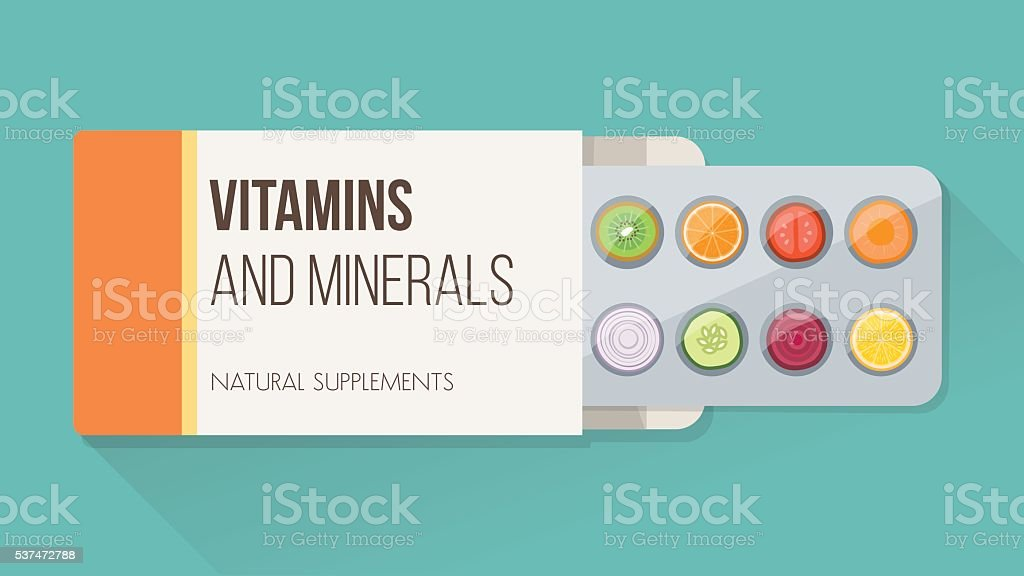 Natural supplements vector art illustration