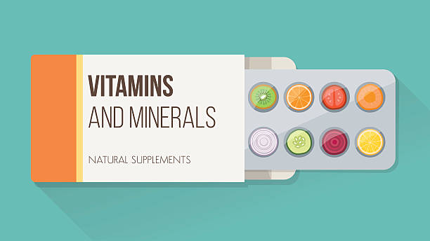 Natural supplements Slices of vegetables and fruit in a drug blister packaging and open box, natural supplements and vitamins concept nutritional supplement stock illustrations
