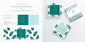 Natural symbol and packaging design template. Natural soap package mockup created by vector. Watercolor green leaf pattern for branding and corporate identity design.