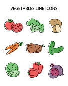istock natural vegetables. set of vector icons in flat style 1291701702
