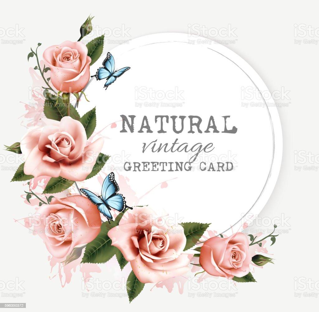 Natural vintage greeting card with roses. Vector. Lizenzfreies natural vintage greeting card with roses vector stock vektor art und mehr bilder von abstrakt