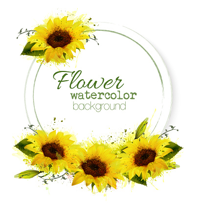 Natural vintage greeting card with watercolor sunflowers. Vector.