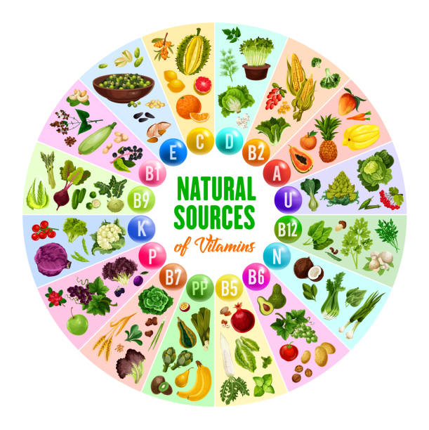 doğal vitamin, vejetaryen gıda kaynakları - vitamin d stock illustrations