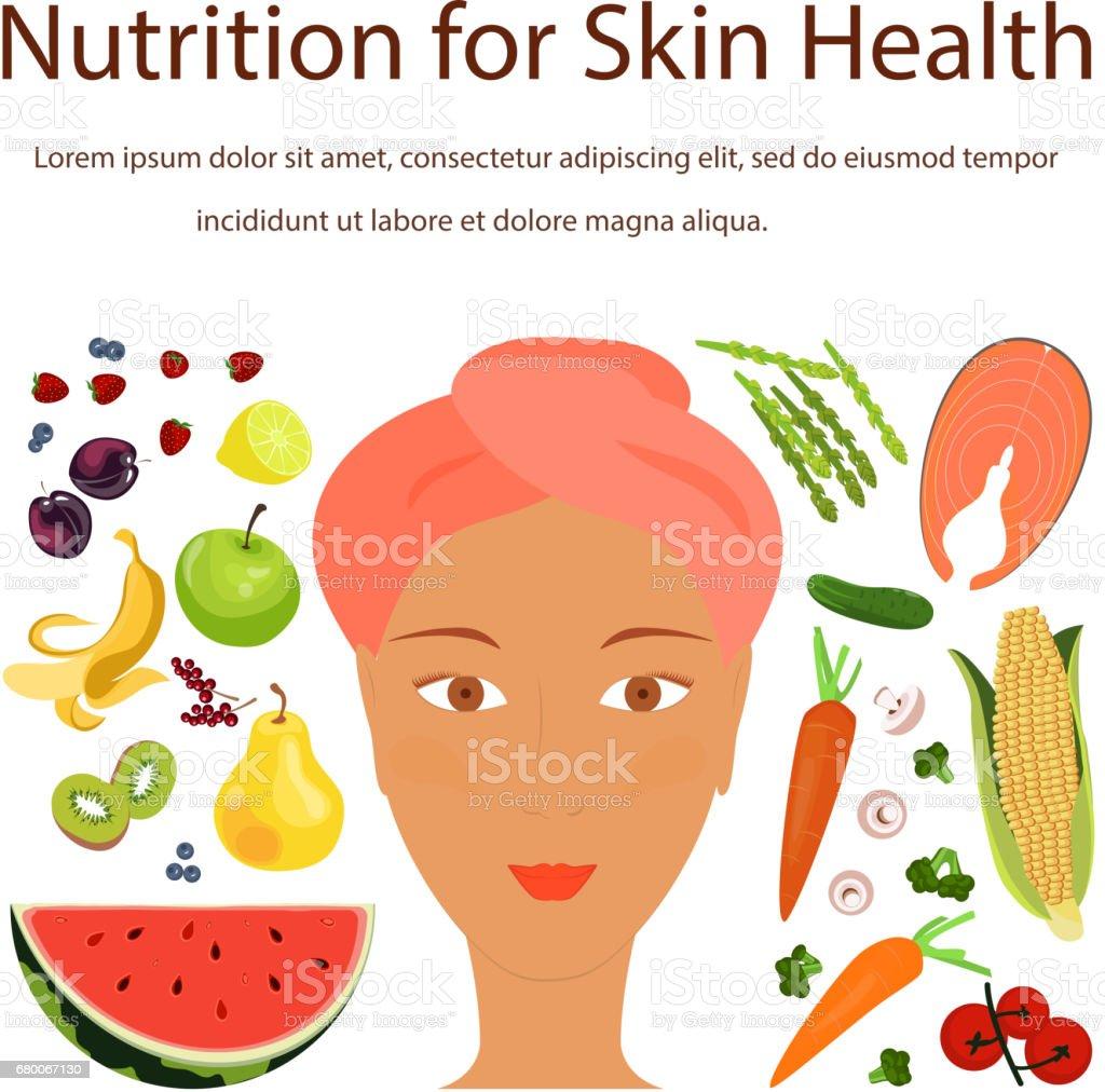 Natural vitamins sources vector art illustration