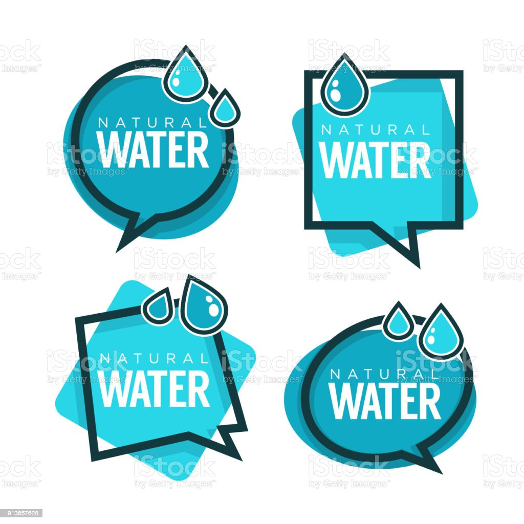 Natürliche Wasser Vektor Etiketten Und Aufkleber Vorlagen Mit Aqua ...