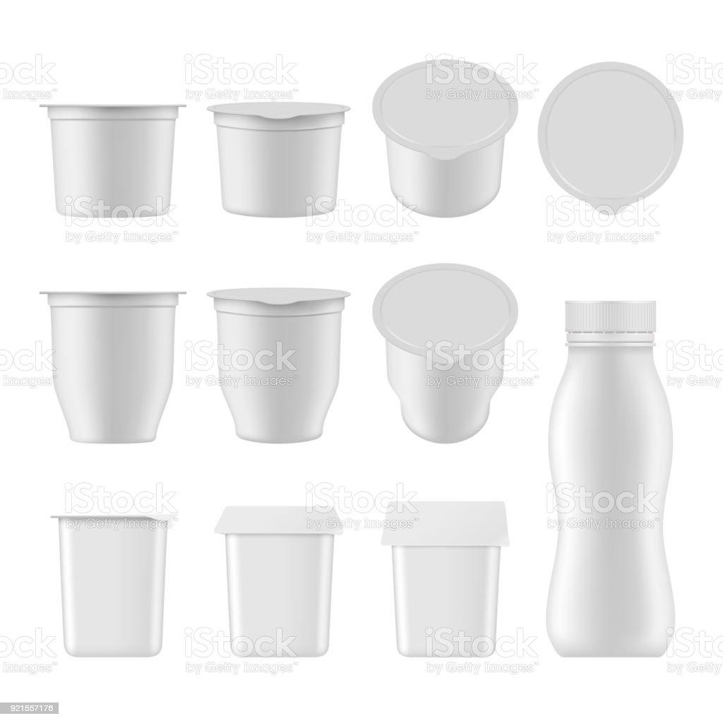 Natural yogurt vector realistic package mockup set