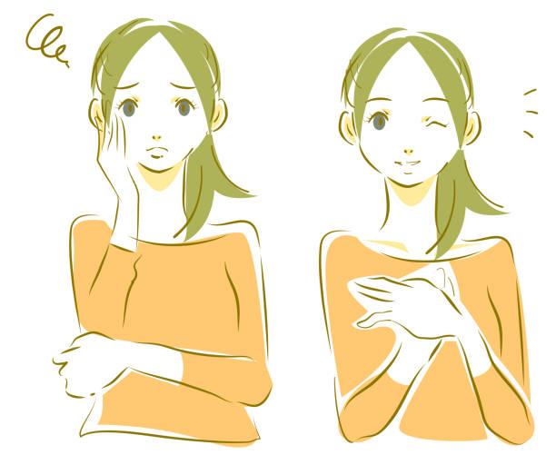 ilustrações de stock, clip art, desenhos animados e ícones de natural young woman expression - mão no peito