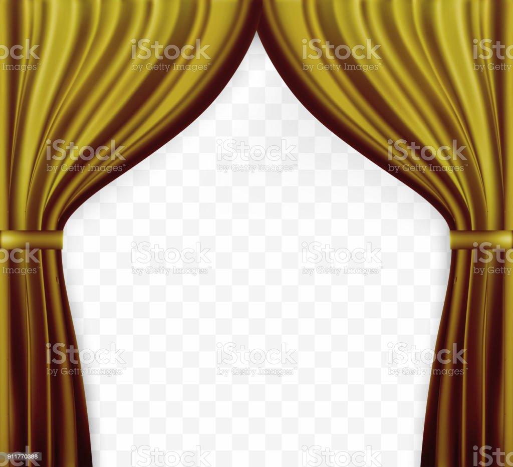 https www istockphoto com fr vectoriel image naturaliste du rideau ouverte de rideaux couleur or sur fond transparent gm911770388 251029317