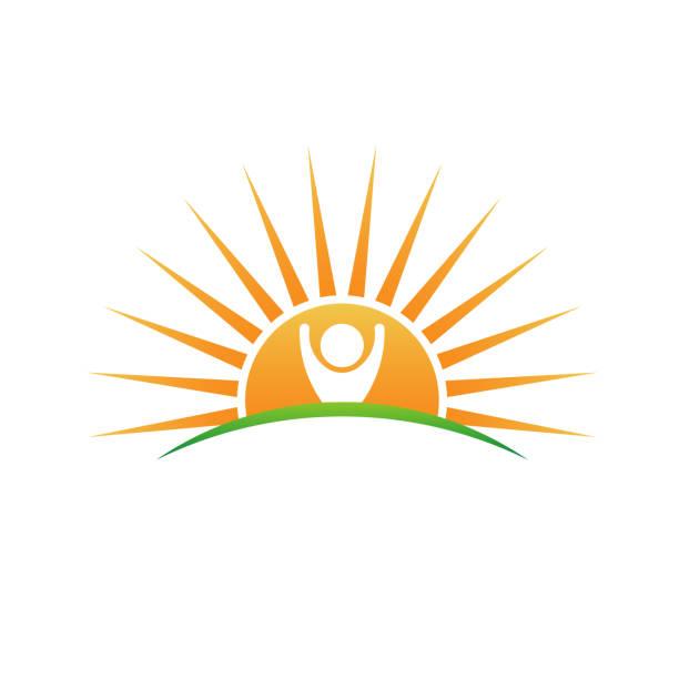 naturalnie wykonane logo. ilustracja wektorowa roślin i słońca - horyzont stock illustrations