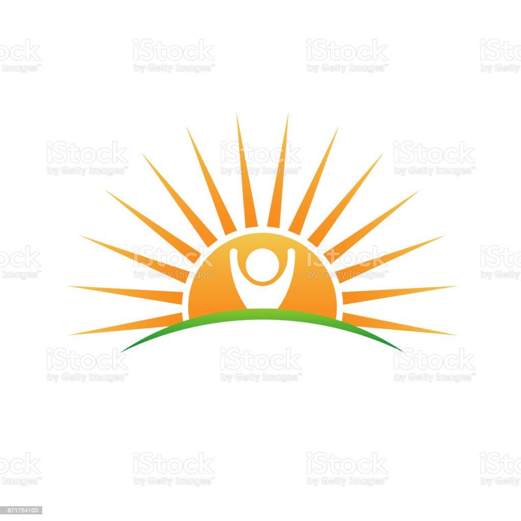 Naturally Made Logo. Plant and Sun Vector Illustration vector art illustration