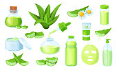 Nature aloe vera medicinal pharmacy, cosmetic plant leaves, fresh juice on natural herbal vector illustration isolated on white. Herbal plant, bottle with extract liquid, dripping isolated, gel, herb