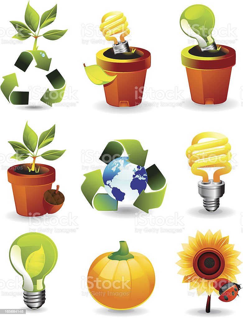 Nature & Green energy icons royalty-free stock vector art