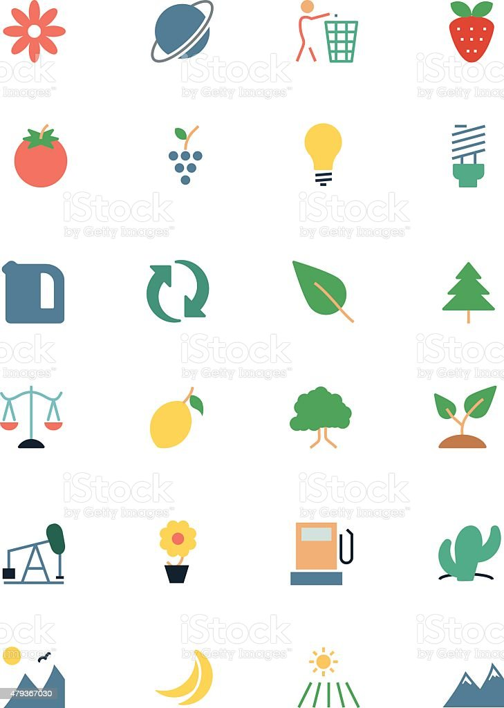 Nature and Ecology Colored Icons 2 vector art illustration