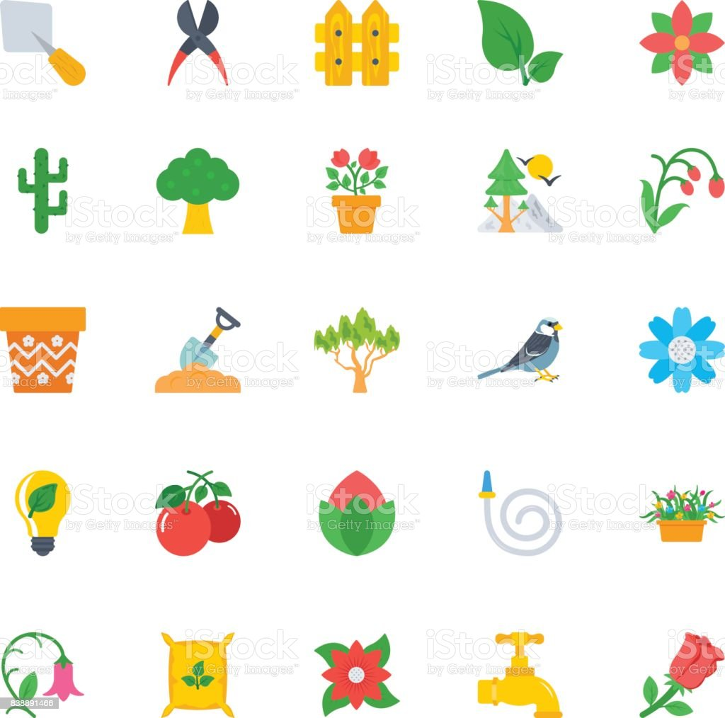 Nature and Ecology Flat Icons 2 vector art illustration