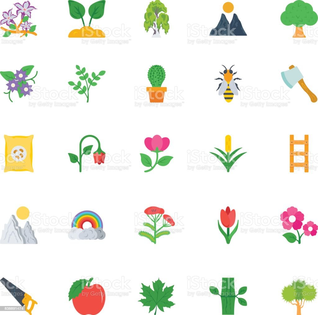 Nature and Ecology Flat Icons 3 vector art illustration