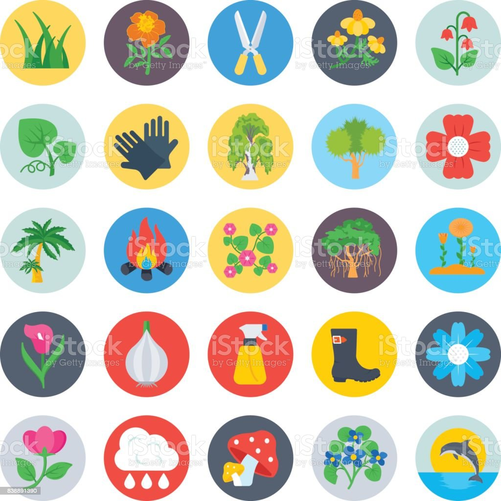 Nature and Ecology Flat Icons 4 vector art illustration