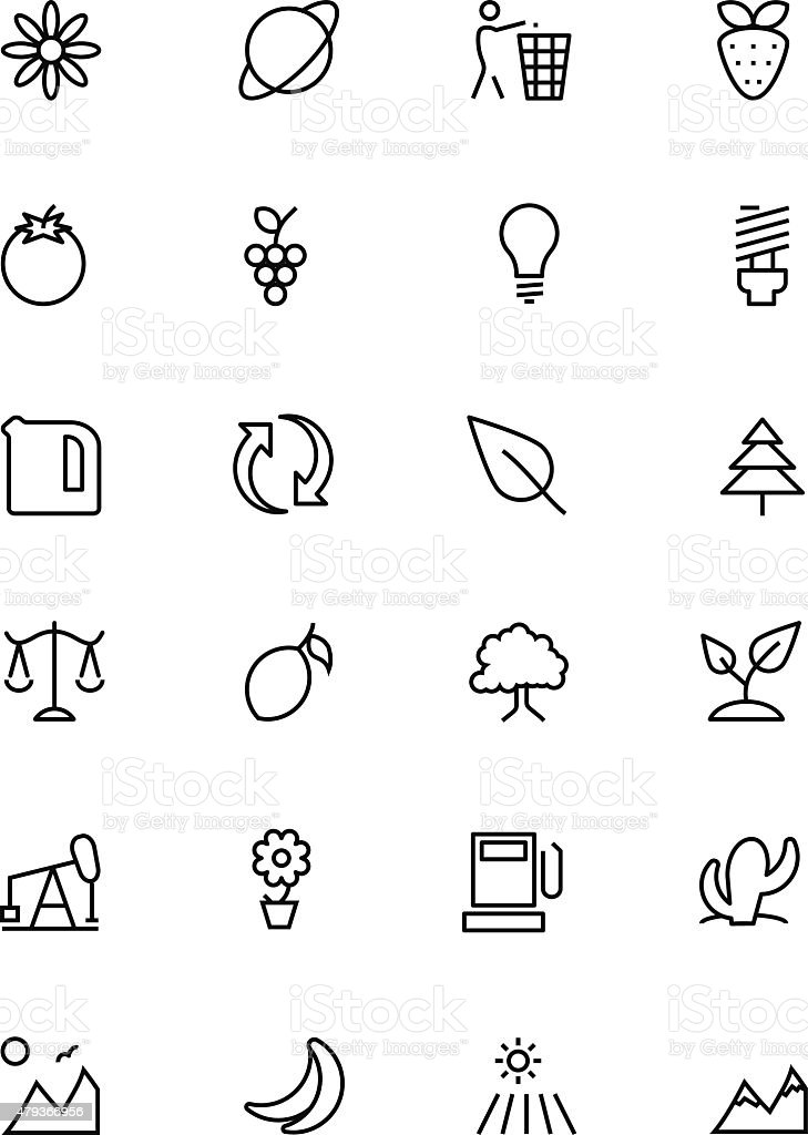 Nature and Ecology Line Vector Icons 2 vector art illustration