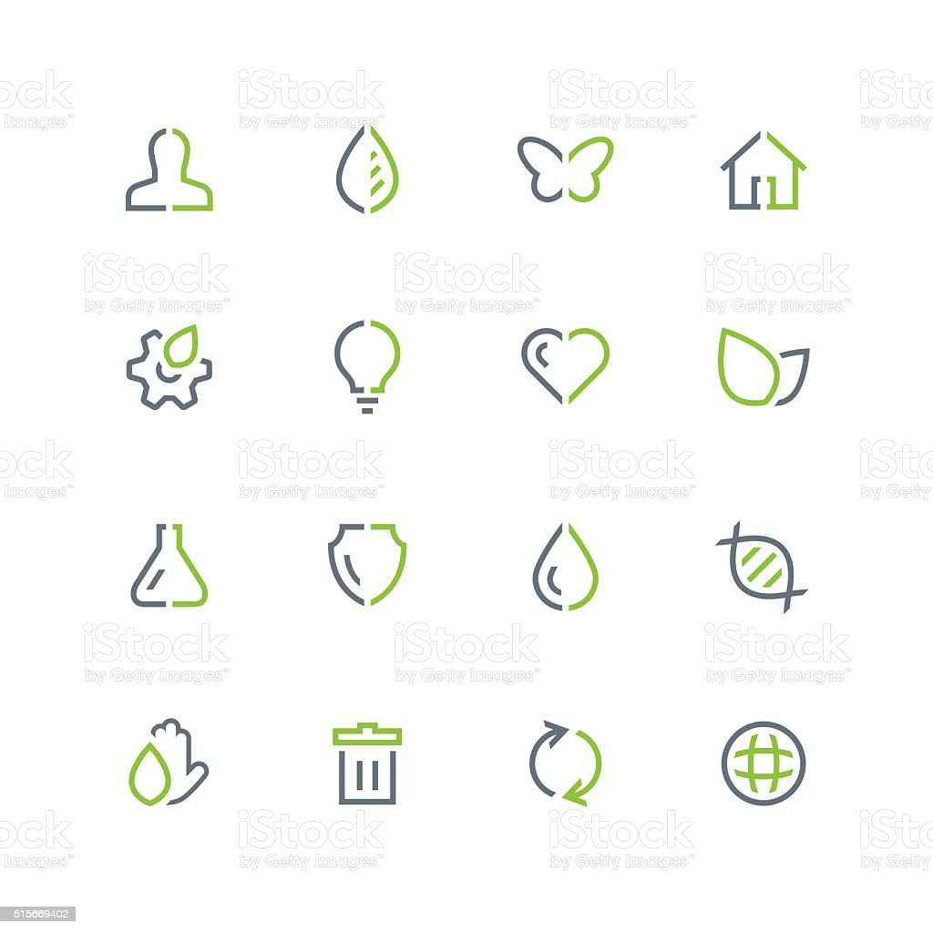 Nature and ecology outline colored icon set