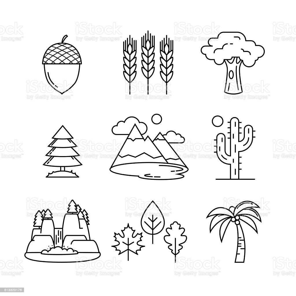 Nature and forest thin line art icons set vector art illustration