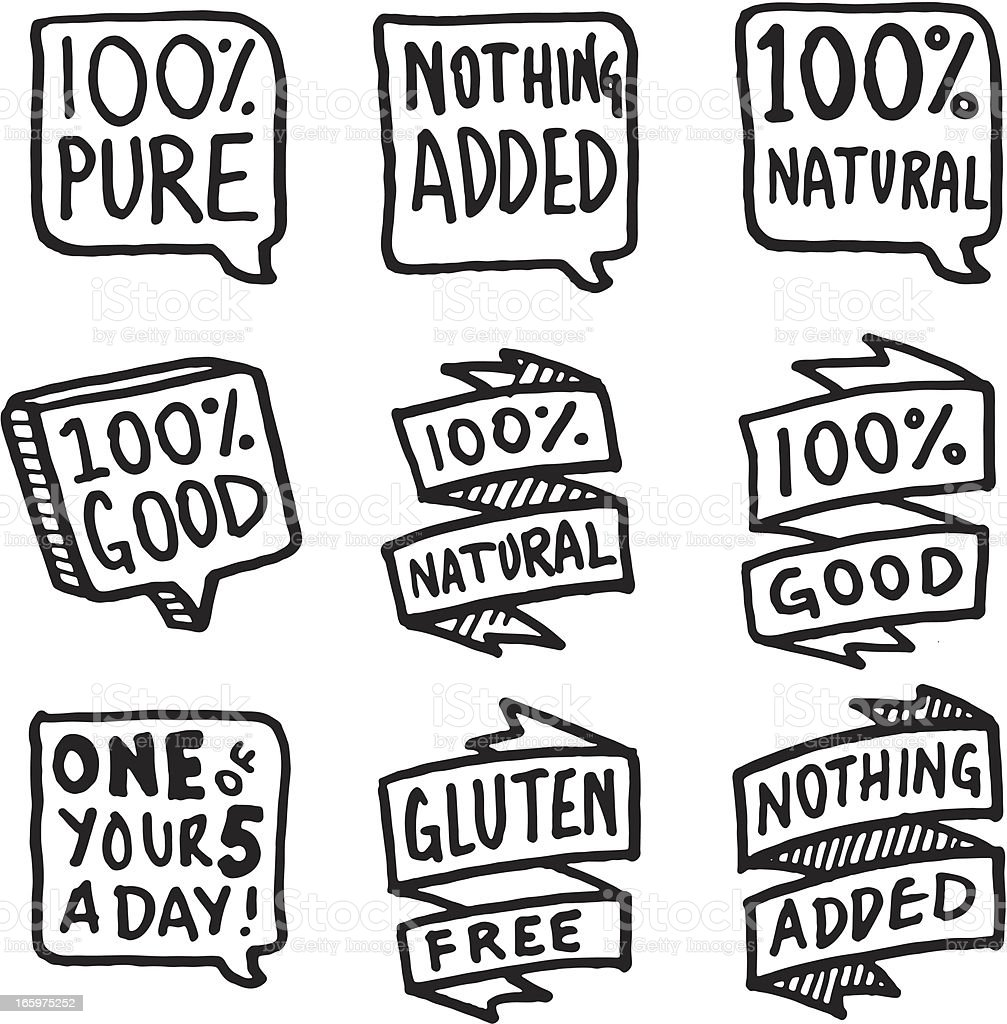 Nature and goodness icon set vector art illustration