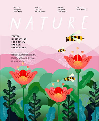 Nature and landscape. Vector illustration of trees, forest, mountains, flowers, plants, fields, farm and village. Picture for background, card or cover