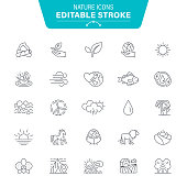 Life, Plant, Drop, Sunset, Farm, Agricultural Field, Land, Editable Stroke Icon Set