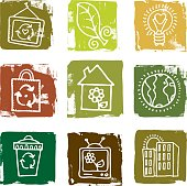 A set of nature and recycling icons.