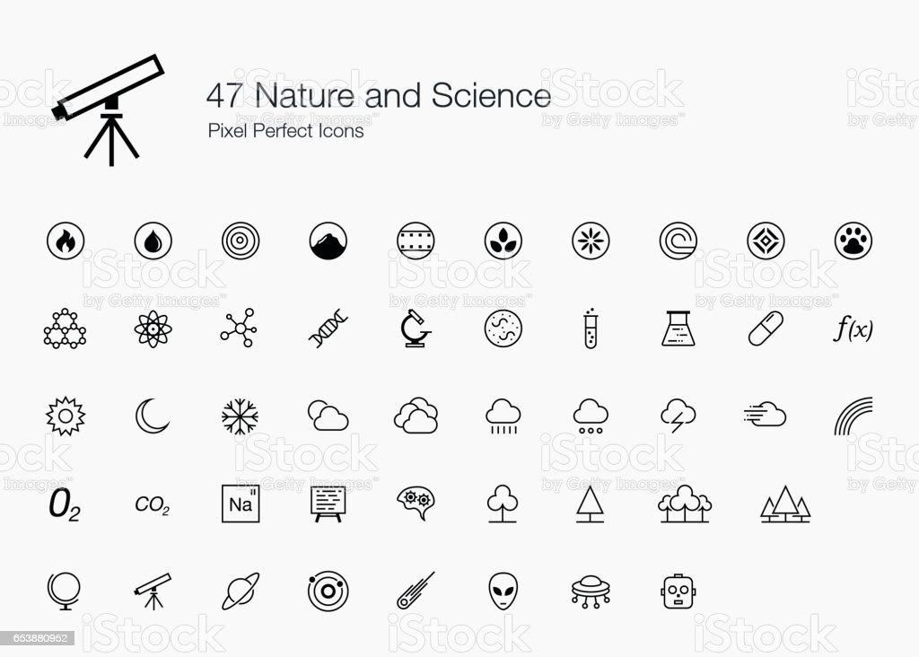 47 Nature and Science Pixel Perfect Icons (line style) vector art illustration
