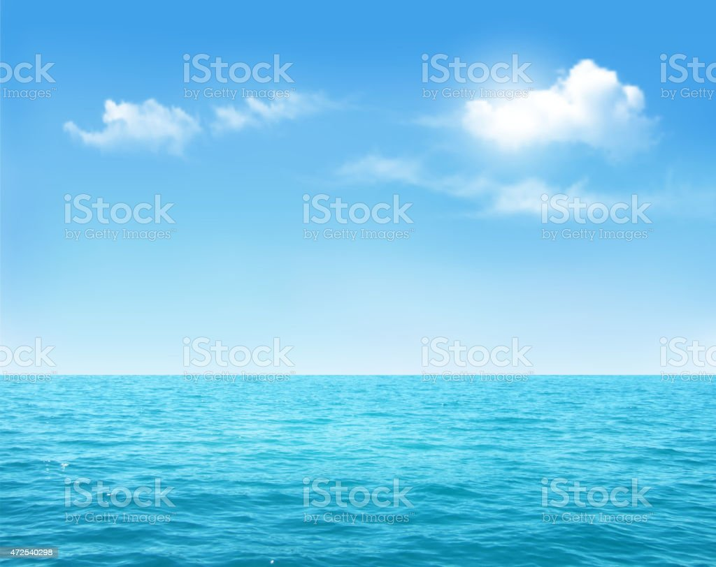 Nature background - blue ocean and blue cloudy sky. Vector. vector art illustration