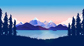 By the lake with view of the ocean and mountains reflecting in the water. Trees and grass in front. Calm, peaceful, beautiful landscape concept. Vector.