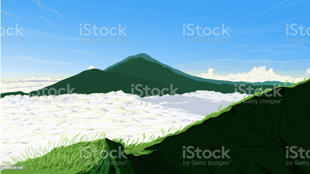Nature Background of Batur Mountain Indonesia Landscape Vector Illustration vector art illustration