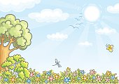 A cartoon background with a tree, sky and flowers.