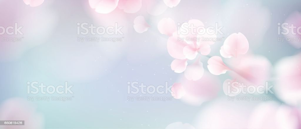 Nature background with blossom branch of pink flowers. vector art illustration